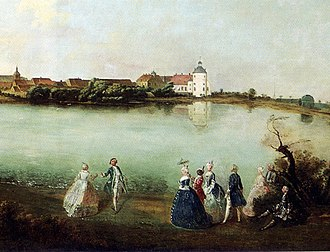 Georg Wenzeslaus von Knobelsdorff - View of Rheinsberg 1737, excerpt from a Knobelsdorff painting