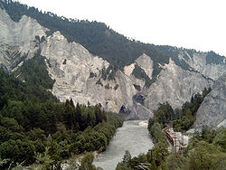 The Rhine canyon (Ruinaulta) in Graubünden in Switzerland.
