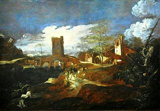 Landscape with a bridge and a tower (detail).