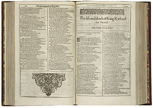 Richard II (play) - The first page of Richard II, printed in the First Folio of 1623