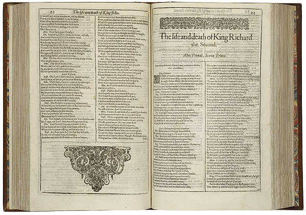 The first page of Richard II, printed in the First Folio of 1623 Richard2-firstfolio.jpg