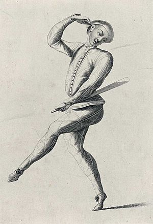 Harlequinade - John Rich as Harlequin with batte, c. 1720
