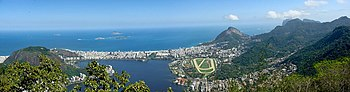 English: Panoramic view from Corcovado, Rio de...