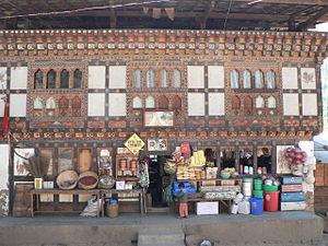 Roadside shops north of Thimphu