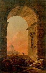 Paysage avec une arche et le dôme de Saint-Pierre de Rome
