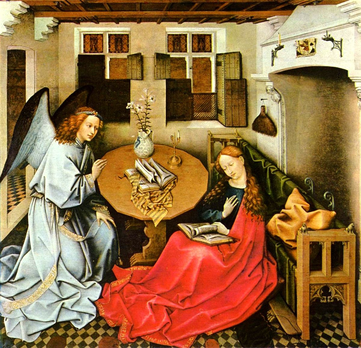 annunciation merode altarpiece by robert campin The mérode altarpiece is a triptych by the southern netherlandish master robert  campin the name mérode belongs to the belgian family that was the last.