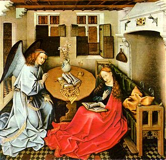 Mérode Altarpiece - The Annunciation. The Musée des Beaux-Arts, Brussels, version of the central panel, at one time attributed to Jacques Daret, a pupil of Campin's. This panel was painted earlier than the New York version, and may be the original.