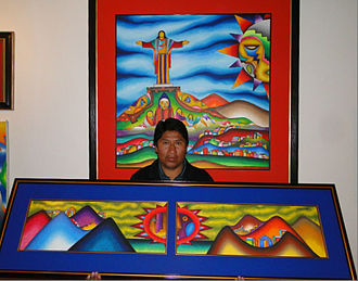 Roberto Mamani Mamani - Roberto Mamani Mamani in one of his galleries in La Paz, Bolivia.