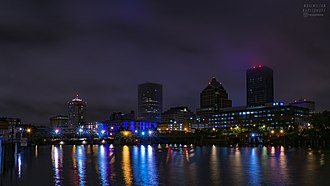 Rochester, New York - Downtown Rochester and the central business district after dark.