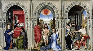 Altar of Saint John - Rogier van der Weyden's Altar of Saint John. Oil on oak panel, each frame 77 x 48cm. Gemäldegalerie, Berlin