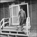 Rohwer Relocation Center, McGehee, Arkansas. A High School office assistant leaves the principal's . . . - NARA - 538933.tif