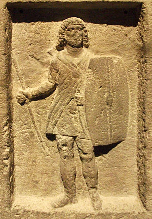 Bosporan Kingdom - The stele of Staphhilos from the Panticapaeum, depicting a soldier with the traditional Bosporan long hair and beard.