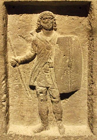 Bosporan Kingdom - The stele of Staphhilos from Panticapaeum, depicting a soldier with the traditional Bosporan long hair and beard.
