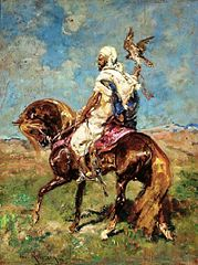 Arab horseman with a falcon.