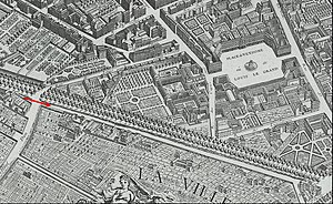 Boulevards of Paris - Boulevards on the Turgot map (1736) some years after their creation in place of the Louis XIII wall.