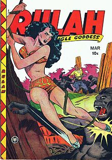 A Golden Age comic book cover showing, in the foreground, a woman in a giraffe-print bikini swinging on a vine and kicking a gorilla.  In the background, a man is tied to a post, surrounded by more gorillas.