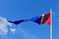 Sámi (Saami) flag, pennant of Sàpmi, blue sky. Sameflagg vimpel blå himmel. Harstad 2019-05-09 DSC01231.jpg
