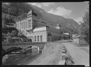 Såheim Hydroelectric Power Station dam in Rjukan
