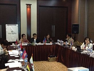 Seated in the middle, Philippine Department of Education's Tonisito Umali, elected as Chairperson by the ASEAN member countries of Seameo Qitep in Language to preside its 5th Governing Board meeting held last Oct 6 to 10, 2014 at Jakarta, Indonesia. SEAMEO QITEP in Language.jpg
