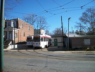 61st Street station (SEPTA) - Two SEPTA Route 34 trolleys at the Angora Loop