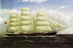 Dunedin (ship) -  The Dunedin in 1876, wearing the colours of Shaw, Savill & Albion Line of London (retained in 1882). Painting by Frederick Tudgay (1841–1921), 47 cm by 77 cm oil on canvas, originally owned by the ship's captain, John Whitson.