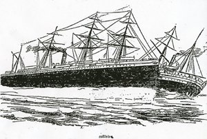 RMS Oceanic (1870) - A newspaper illustration of RMS Oceanic (left) colliding with SS City of Chester.