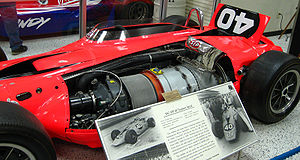 Gas turbine - The 1967 STP Oil Treatment Special on display at the Indianapolis Motor Speedway Hall of Fame Museum, with the Pratt & Whitney gas turbine shown
