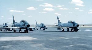 1 Squadron SAAF - 1 Squadron Sabres on the flightline at AFB Pietersburg in 1970