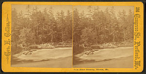 Hiram, Maine - Saco River Scenery, Hiram, Me., a Victorian era stereographic card