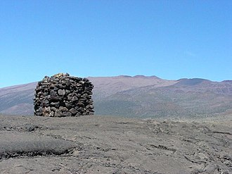 Mauna Kea - A stone structure or ahu facing Mauna Kea, on Saddle Road between Mauna Kea and Mauna Loa