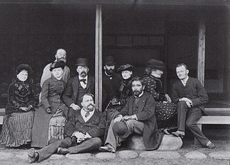 Saigō Jūdō - Saigō Jūdō with foreign friends. Felice Beato is seated in front with him. Photograph by Hugues Krafft in 1882.