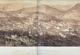 Aerial view of St Etienne, 1860