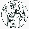Saint Stephen on the coronation pall of Hungary.jpg