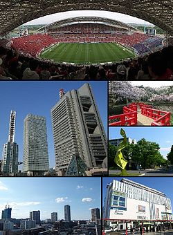 From top left: Saitama Stadium 2002, Saitama New City Center, Saitama Super Arena, Iwatsuki Castle Park, Hikawa Shrine, Urawa PARCO