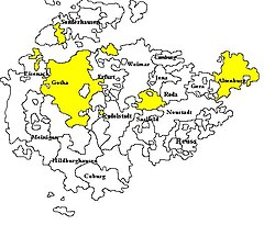 Territories of Saxe-Gotha-Altenburg within the Ernestine duchies of Thuringia, before 1826