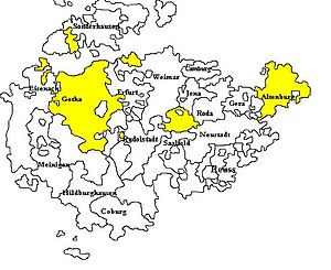Saxe-Gotha-Altenburg - Territories of Saxe-Gotha-Altenburg within the Ernestine duchies of Thuringia, before 1826