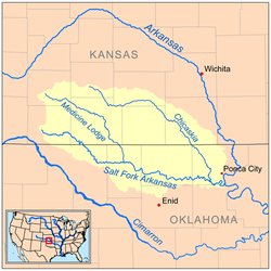 Map Of The Salt Fork Arkansas Watershed
