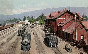 California Southern Railroad - The station and yards at San Bernardino in 1915. A year later, the station was destroyed by fire.