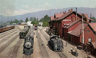 California Central Railway - The station and yards at San Bernardino in 1915. A year later, the station was destroyed by fire.
