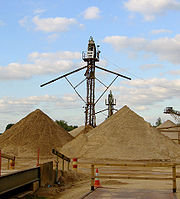 Sand sorting tower at a gravel extraction pit.