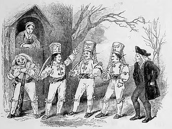 Engraving of a 1852 play with grotesque Old Father Christmas character