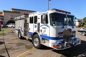 Santa Barbara County Fire Department - Engine 18, a Type 1, sits in a parking lot in Buellton.