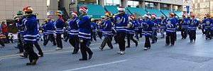 University of Toronto Faculty of Applied Science and Engineering - Skule's Lady Godiva Memorial Band participates in the Toronto Santa Claus Parade.