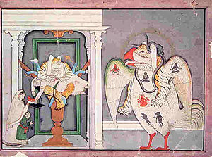 Sharabha - Sharabha (right) with Narasimha killing Hiranyakashipu as Prahlada and his mother look on.