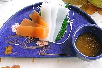 Konjac - Sashimi konnyaku, usually served with a miso-based dipping sauce rather than soy sauce.