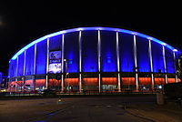 Scandinavium in Gothenburg in French flag colours after Paris attacks in November 2015.JPG