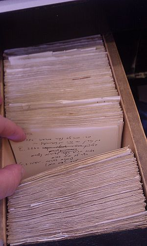 Gershom Scholem - Card catalogue which Gershom Scholem used to write his notes