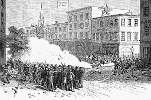 Scranton general strike - The Scranton Citizens' Corps fires on strikers, August 1, 1877, by Frank Leslie