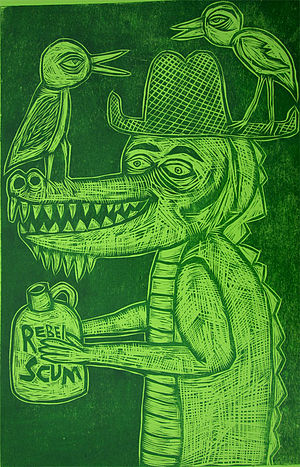 """Sean Starwars - """"Country Croc 2"""" from the """"One Woodcut a Week"""" project"""