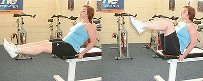 A Knee Raise Type Of Seated Leg With Flexed Joint
